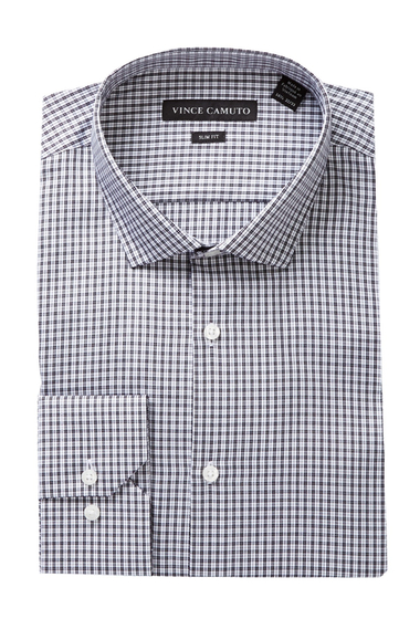 Imbracaminte Barbati Vince Camuto Long Sleeve Slim Fit Check Dress Shirt BLACK-WHITE CHECK