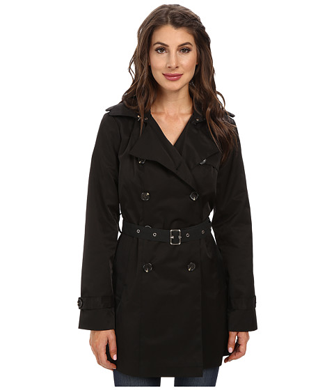 Imbracaminte Femei Sam Edelman Double Breasted Trench w Vegan Leather Trim Black