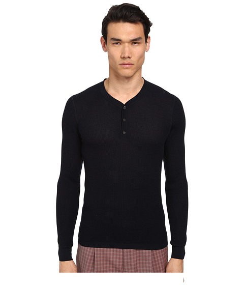 Imbracaminte Barbati Marc Jacobs Solid Silk Thermal Henley Midnight
