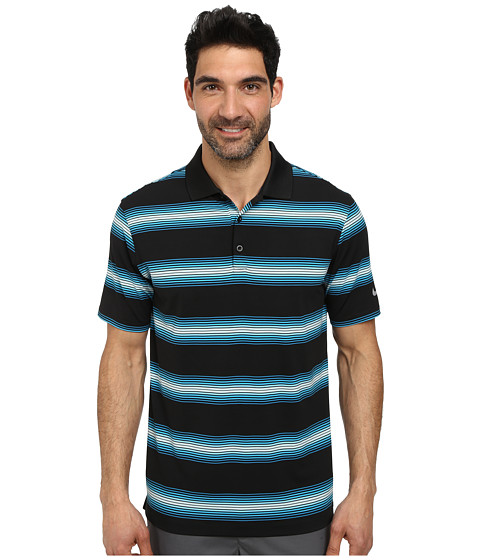 Imbracaminte Barbati Nike Golf Tech Ultra Stripe Polo BlackLight Blue LacquerBlackWolf Grey