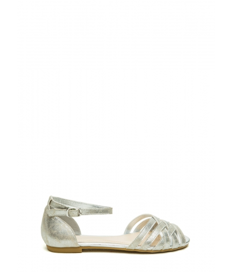 Incaltaminte femei CheapChic Woven Is Me Ankle Strap Sandals Silver