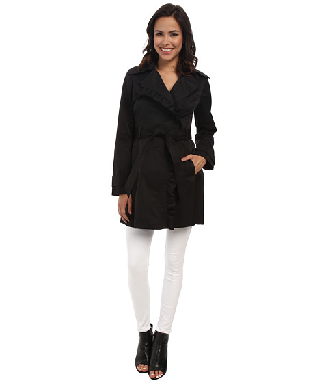 Imbracaminte Femei Jessica Simpson Asymmetrical Zip Ruffle Front Trench Black