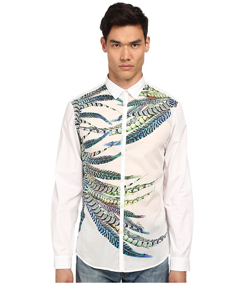 Imbracaminte Barbati Just Cavalli Placed Feather Print Silk Panel Front Shirt Button Up White Variant