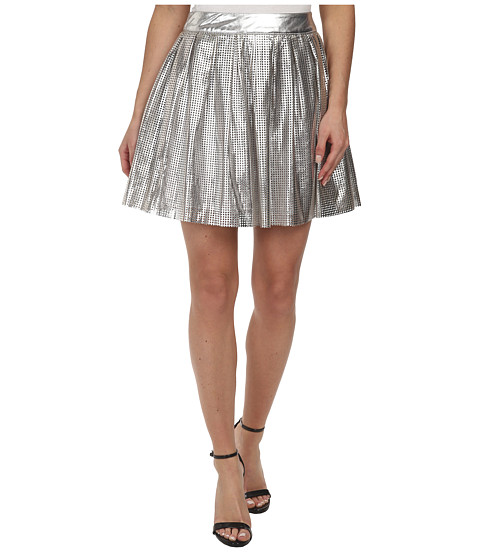 Imbracaminte Femei Sam Edelman Silver Pleated Perforated Pu Skirt Silver