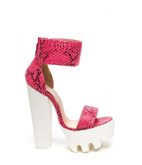 Incaltaminte Femei CheapChic Snakeskin Handler Platform Heels Pink