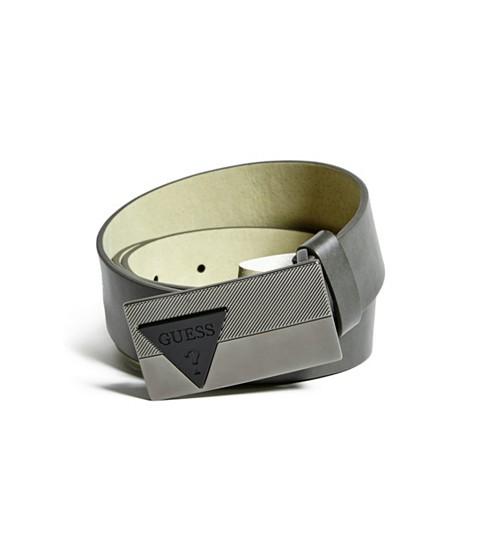 Accesorii Barbati GUESS Triangle Logo Plaque Belt grey