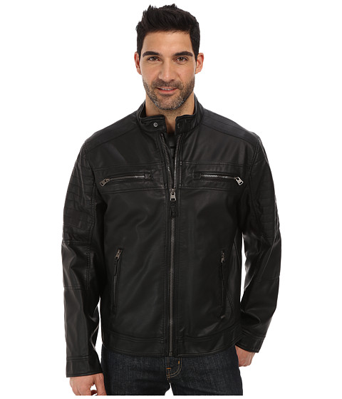Imbracaminte Barbati Calvin Klein Faux Leather Four Pocket Moto Jacket Black