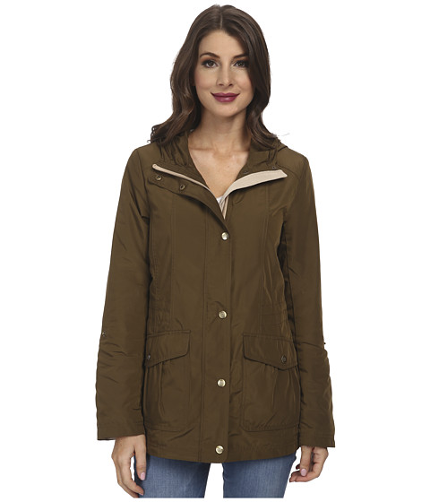 Imbracaminte Femei Jessica Simpson Snap Front Anorak with Contrast Lining OliveKhaki