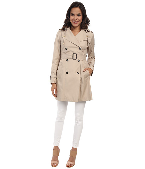 Imbracaminte Femei Cole Haan 35 12quot Double Breasted Hooded Trench Sand