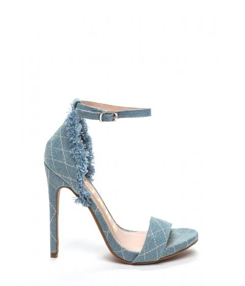 Incaltaminte Femei CheapChic Denim Cutoffs Quilted Stitched Heels Blue
