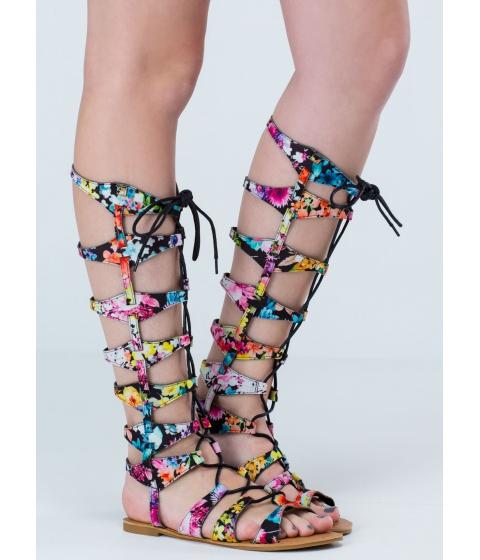 Incaltaminte Femei CheapChic Follow The Lace-up Gladiator Sandals Blackmulti