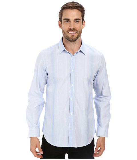 Imbracaminte Barbati Calvin Klein Liquid Cotton Variegated Stripe Woven Shirt White