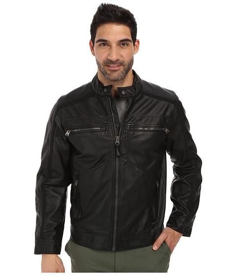 Imbracaminte Barbati Calvin Klein Faux Leather Four Pocket Moto Jacket w Canvas Trim Black