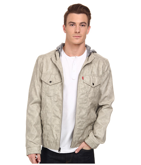 Imbracaminte Barbati Levi's Faux Leather Two-Pocket Hoodie Cement