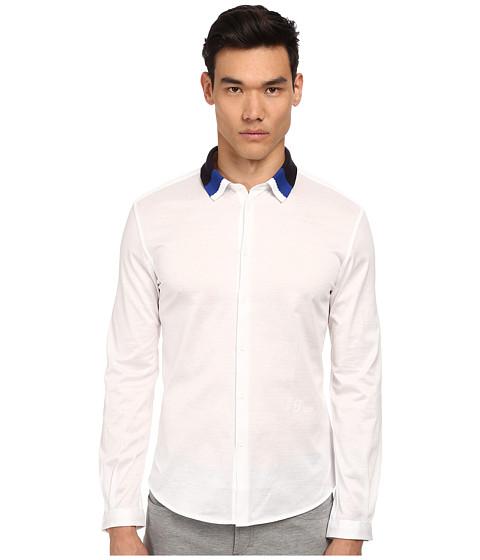 Imbracaminte Barbati Bikkembergs Knit Collar Woven Button Up White