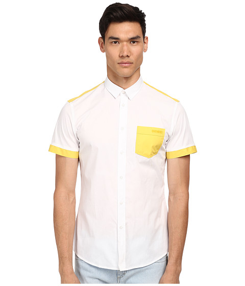 Imbracaminte Barbati Bikkembergs SS Color Block Button Up WhiteYellow