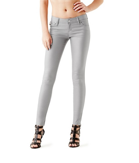 Imbracaminte Femei GUESS Allure Coated Skinny Jeans stone grey