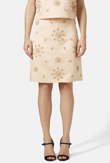 Imbracaminte Femei TOPSHOP Embellished Satin Pencil Skirt PEACH