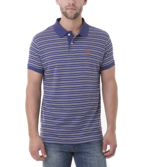 Imbracaminte Barbati US Polo Assn SLIM FIT STRIPE INTERLOCK Polo Shirt DODGER BLUE HEATHER
