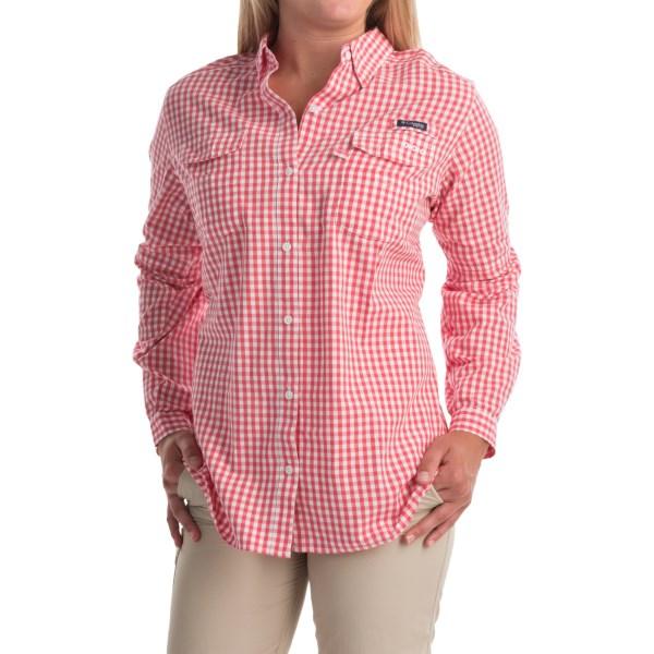 Imbracaminte Femei Columbia Super Bonehead II Shirt - Button Front Long Sleeve (For Plus Size Women) BRIGHT GERANIUM GINGHAM (10)