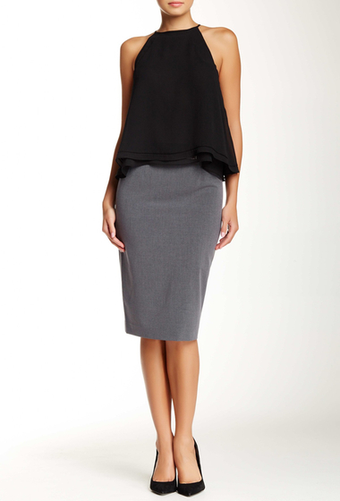 Imbracaminte Femei Amanda Chelsea Signature Belted Pencil Skirt PEWTER