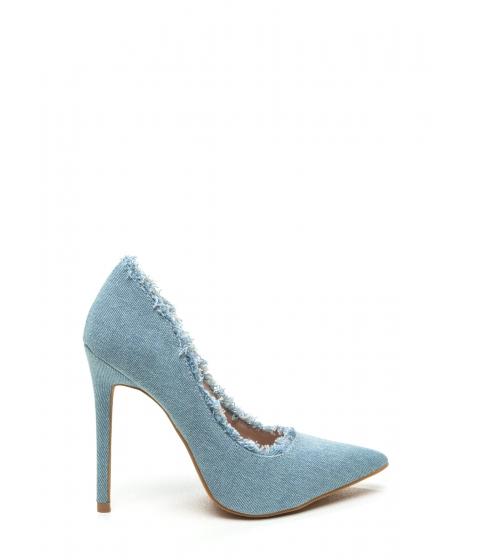 Incaltaminte Femei CheapChic Fray Hard Denim Heels Blue