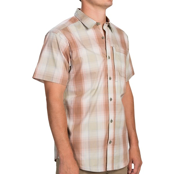 Imbracaminte Barbati Columbia Global Adventure II Yarn Dye Omni-Wick Shirt - UPF 30 Short Sleeve SAFARI (04)