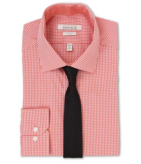 Imbracaminte Barbati Perry Ellis Slim Fit Spread Collar Check Shirt Orange