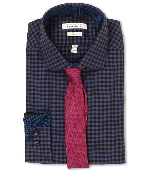 Imbracaminte Barbati Perry Ellis Slim Fit Gingham Shirt Deep Blue