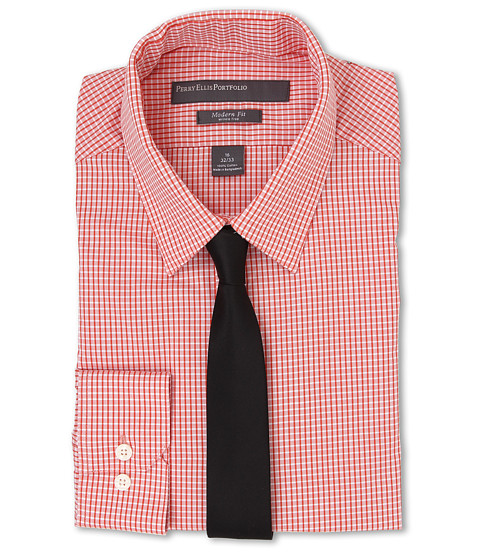 Imbracaminte Barbati Perry Ellis Slim Fit Check Shirt Orange