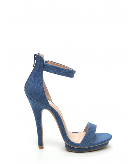 Incaltaminte Femei CheapChic Days Of Denim Ankle Strap Platforms Blue
