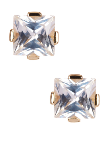 Bijuterii Femei Savvy Cie 14K Gold Plated Sterling Silver Princess Cut White Quartz Stud Earrings yellow
