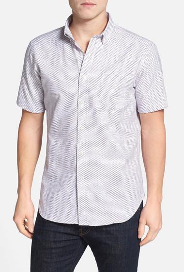 Imbracaminte Barbati Haspel Rampart Trim Fit Short Sleeve Sport Shirt WHITE- BLUE- RED DECO