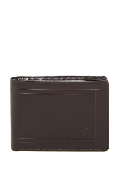 Accesorii Barbati Original Penguin Frame Leather Bifold Wallet BROWN