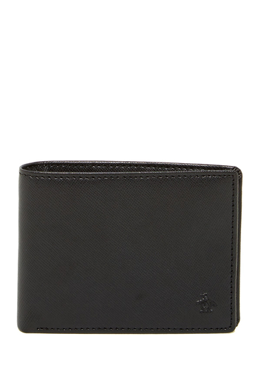 Accesorii Barbati Original Penguin Saffriano Slim Leather Bifold Wallet BLACK