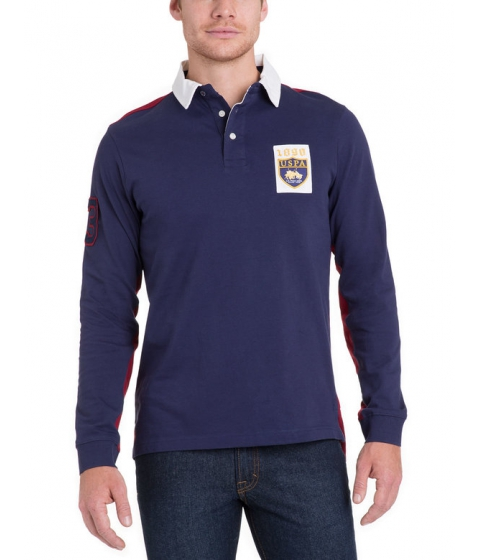 Imbracaminte Barbati US Polo Assn PATCH COLORBLOCK LONG SLEEVE Polo Shirt Classic Navy
