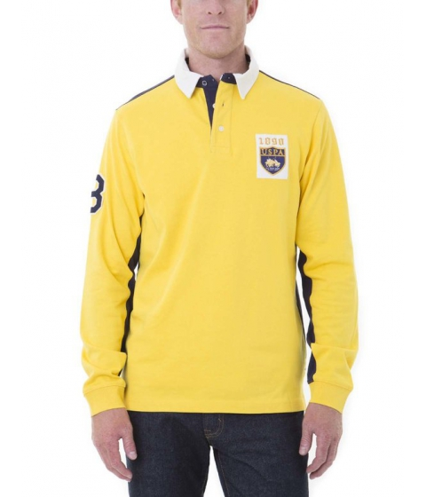 Imbracaminte Barbati US Polo Assn PATCH COLORBLOCK LONG SLEEVE Polo Shirt PREPPY YELLOW