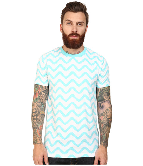 Imbracaminte Barbati French Connection Geo Herringbone Tee Aqua Sky