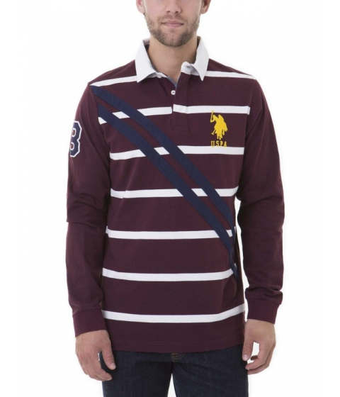 Imbracaminte Barbati US Polo Assn DIAGONAL LONG SLEEVE Polo Shirt NEW BURGUNDY