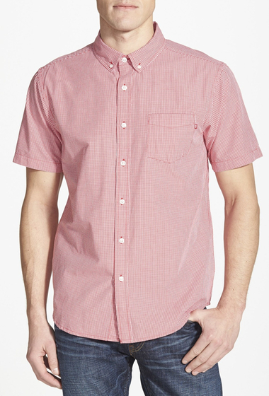 Imbracaminte Barbati Obey Luke Woven Short Sleeve Trim Fit Shirt RED- MULTI