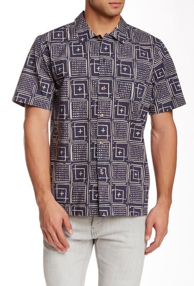 Imbracaminte Barbati Obey Riviera Print Woven Short Sleeve Regular Fit Shirt INDIGO MUL