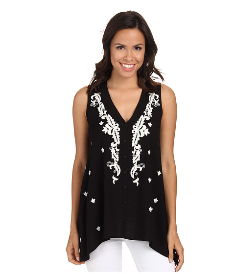 Imbracaminte Femei Karen Kane Embroidered Handkerchief Tank Top Black
