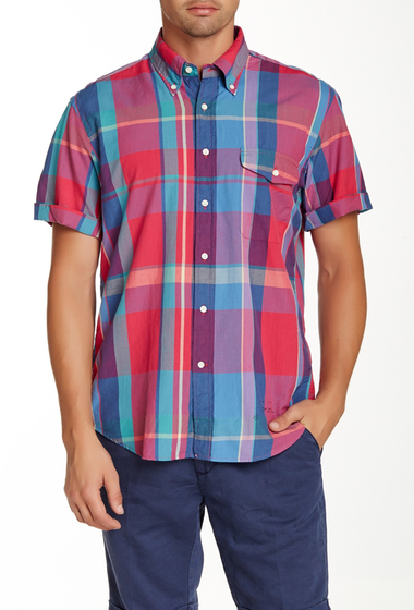 Imbracaminte Barbati Gant Rugger India Madras Short Sleeve Relaxed Fit Shirt RASPBERRY