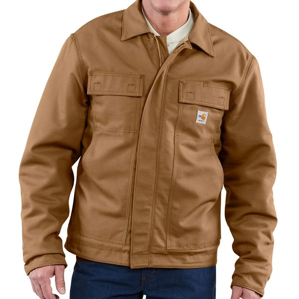 Imbracaminte Barbati Carhartt FR Flame-Resistant Lanyard Access Jacket - Quilt Lined (For Big and Tall Men) CARHARTT BROWN (01)