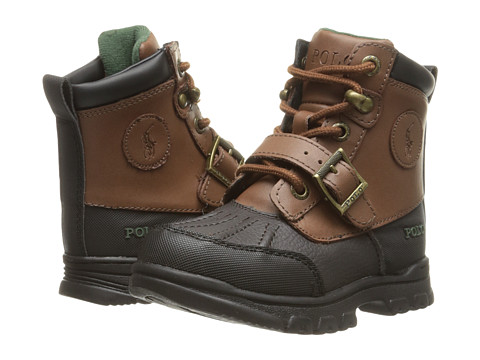 Incaltaminte Baieti Polo Ralph Lauren Colbey Boot FT14 (Toddler) Chocolate TumbledTan Burnished Leather