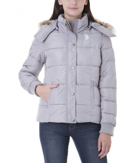 Imbracaminte Femei US Polo Assn PRINCESS SEAM Removable FUR HOODED PUFFER DOVE GREY