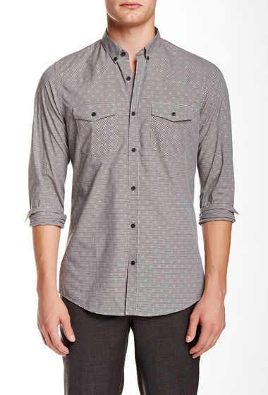 Imbracaminte Barbati The Kooples Checked Long Sleeve Fitted Shirt BLACK-WHITE