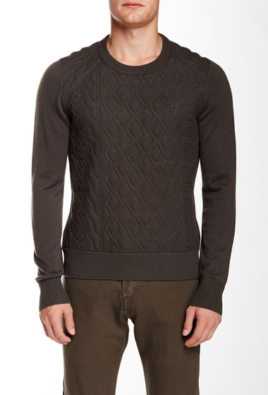 Imbracaminte Barbati The Kooples Quilted Wool Pullover DARK KAKI