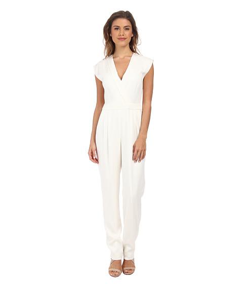 Imbracaminte Femei Nicole Miller Stretch Crepe V-Neck Jumpsuit White