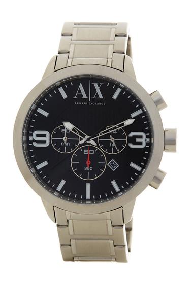Ceasuri Barbati Armani Exchange Mens Silver Analog Watch STAINLESS-BLACK